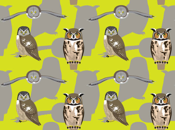 american owl cartoon seamless wallpaper - great horned owl stock illustrations, clip art, cartoons, & icons