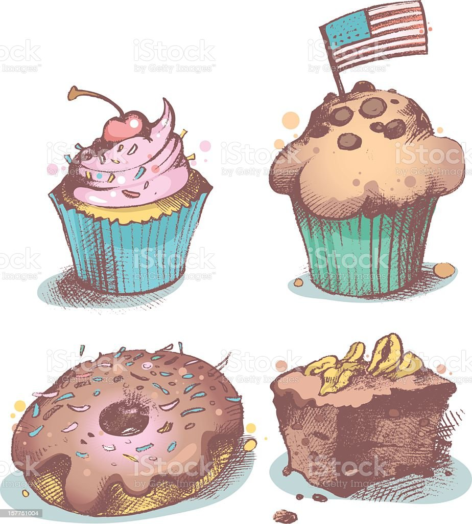 American pastries royalty-free stock vector art