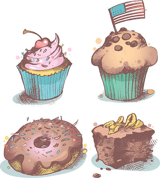 American pastries vector art illustration