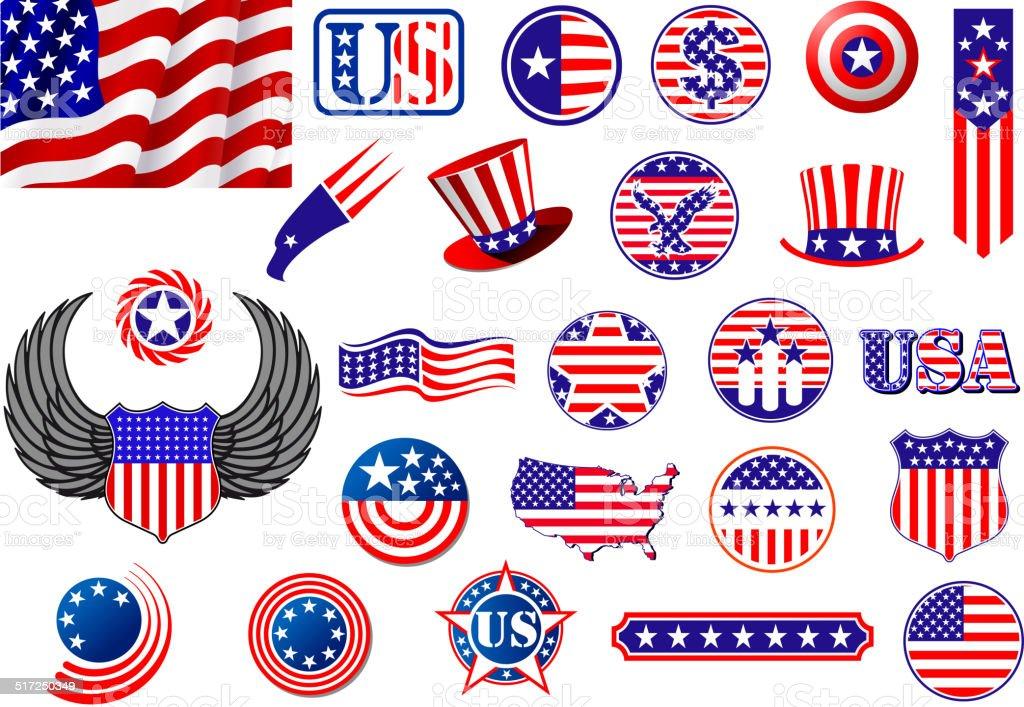 American Patriotic Badges Symbols And Labels Stock Vector Art More