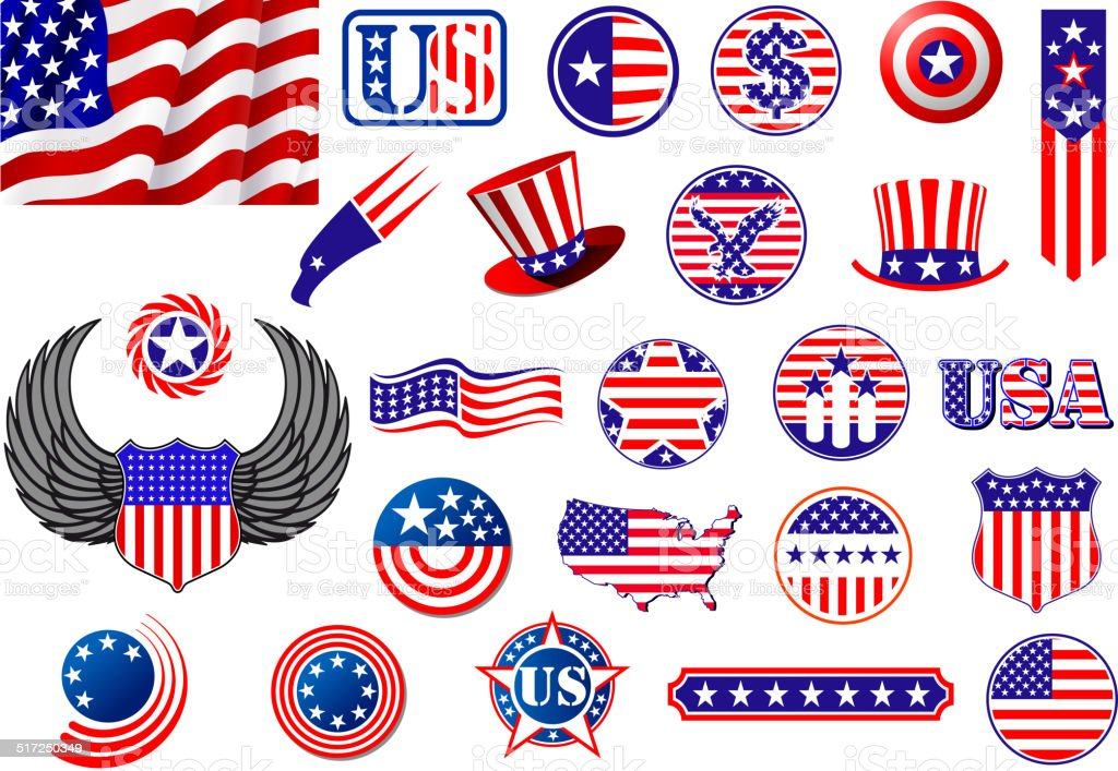 American patriotic badges, symbols and labels vector art illustration