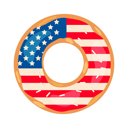 American Patriotic Donut with flag of USA on the glaze. Independence Day doughnut.  Vector template for typography poster, banner, flyer, sticker, t-shirt, postcard, logo design, etc