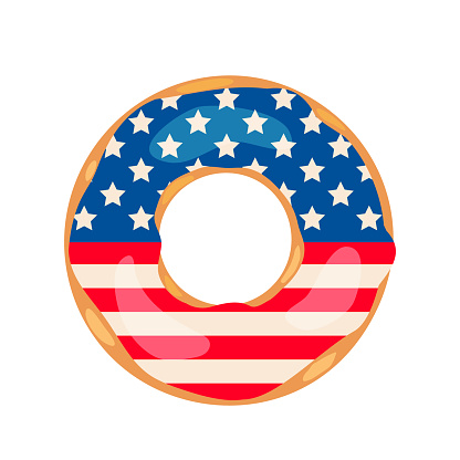 American Patriotic Donut with flag of USA on the glaze. Independence Day doughnut.  Vector template for typography poster, banner, flyer, sticker, t-shirt, postcard, logo design