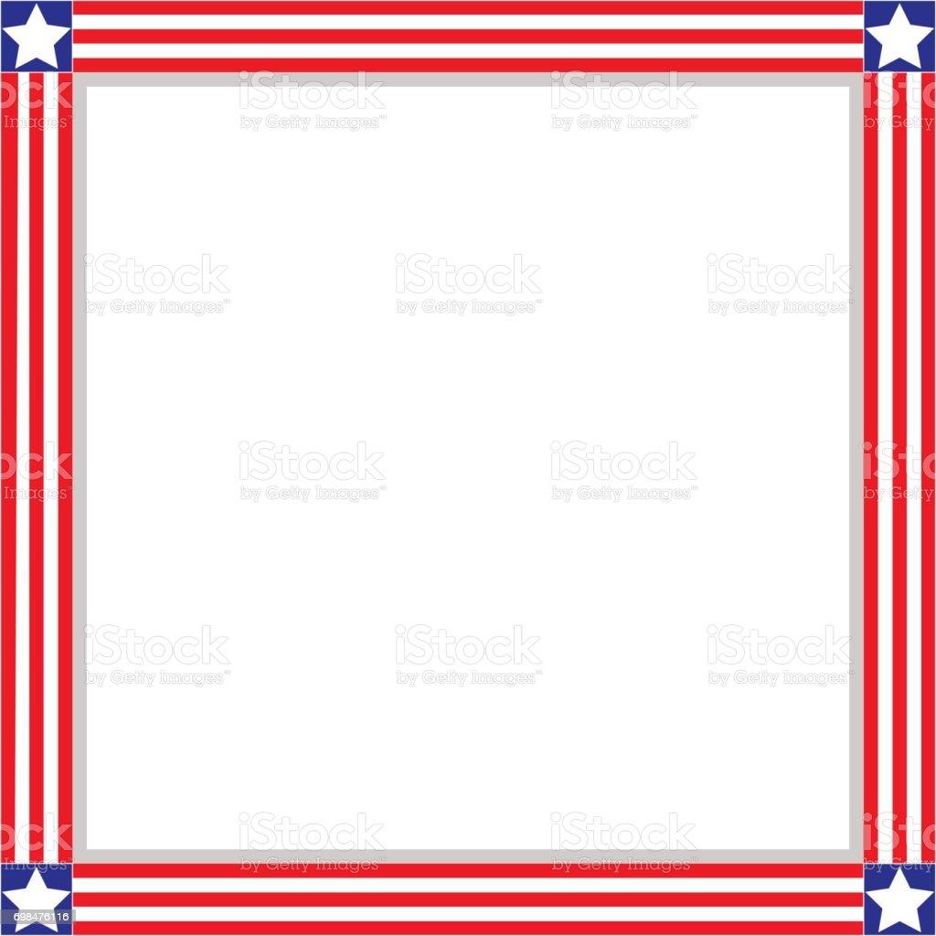 Amerikanische Patriotische Quadratischen Rahmen Stock Vektor Art und ...