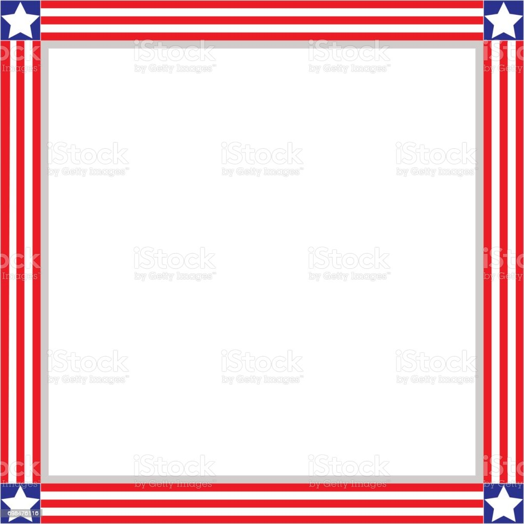 American Patriotic square frame vector art illustration