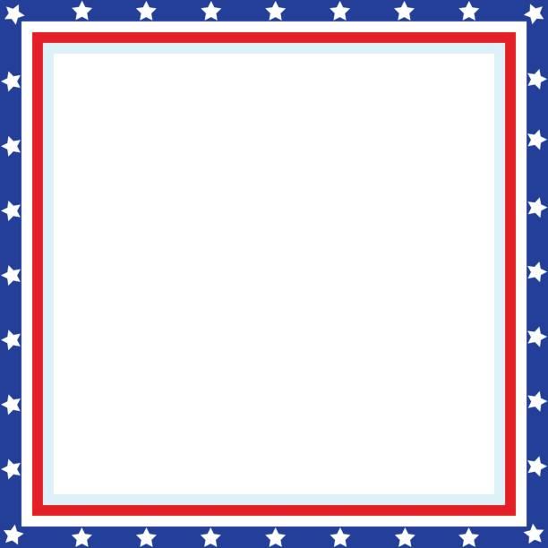 american patriotic square frame - us flag stock illustrations