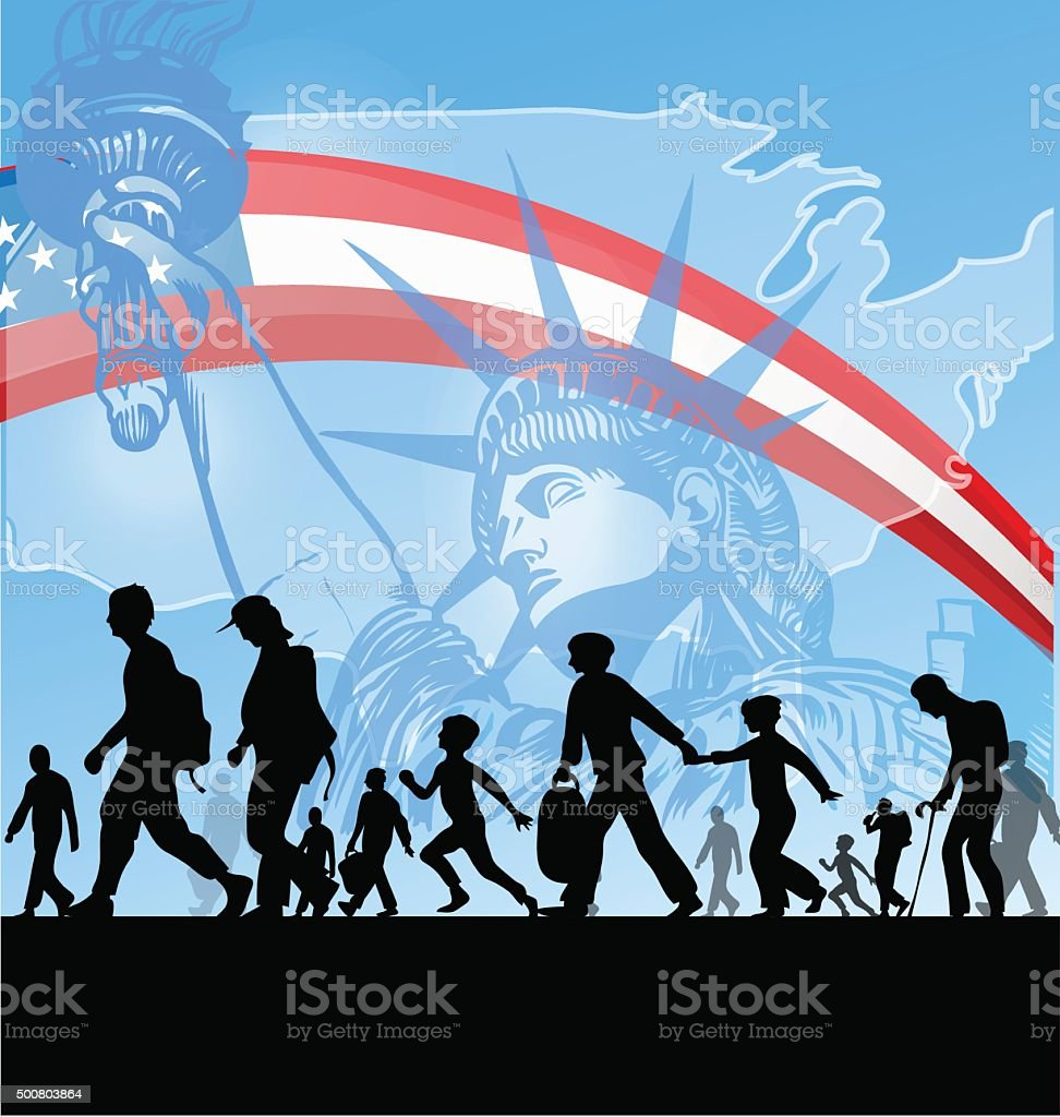american people immigration vector art illustration