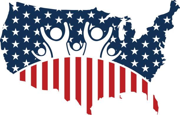 american people in the usa map. vector illustration - family 4th of july stock illustrations