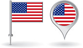 American pin icon and map pointer flag. Vector