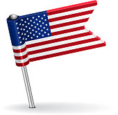 American pin icon flag. Vector illustration