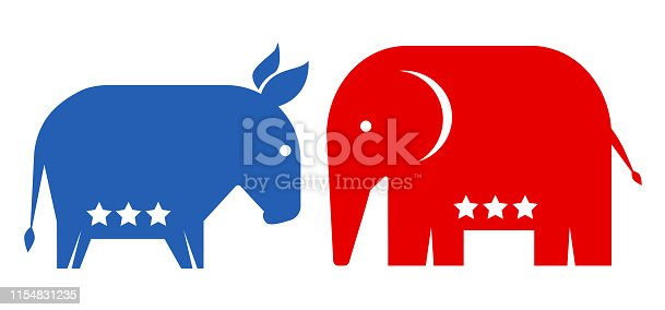 Vector animals donkey and elephant. Republican and democrat political parties USA. American political parties.