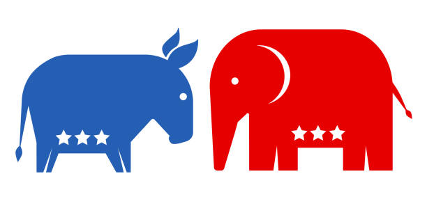 American political parties. Vector animals donkey and elephant. Republican and democrat political parties USA. American political parties. political party stock illustrations