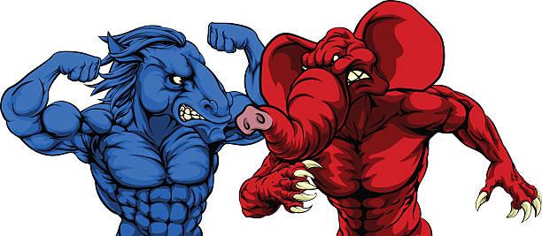 американская политика республиканская демократ животных - presidential debate stock illustrations