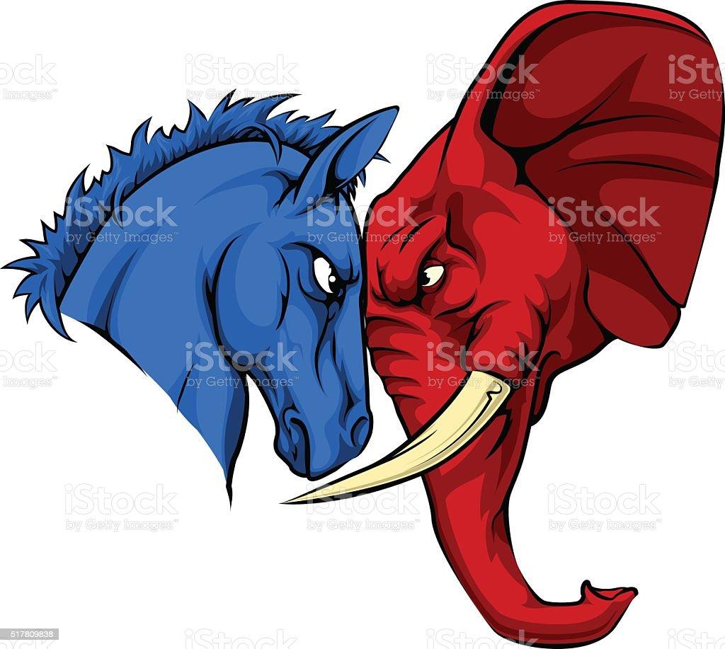 American Politics Republican Versus Democrat vector art illustration