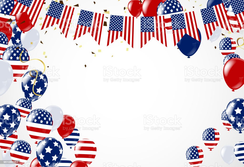 0b1c0a4c94d American President Day background of stars flying. Holiday confetti in US  flag colors for President Day - Illustration .