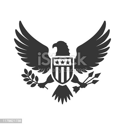 American Presidential National Eagle Sign on White Background. Vector illustration