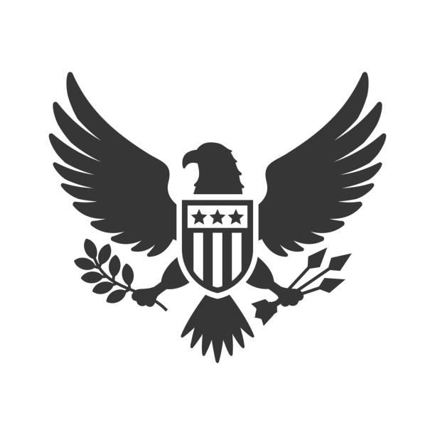 illustrations, cliparts, dessins animés et icônes de signe national américain d'aigle sur le fond blanc. vecteur - aigle