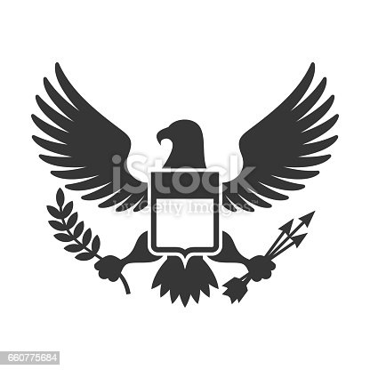 American Presidential Symbol. Eagle with Shield Design element. Vector illustration
