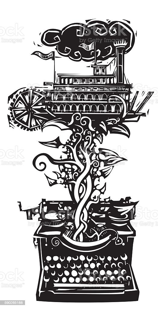 American Riverboat Story vector art illustration