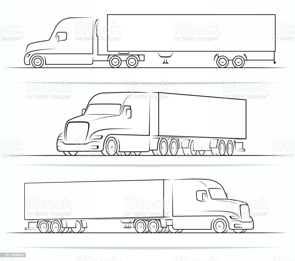 American road train silhouettes outlines contours side and perspective view of the semi truck with a trailer vector illustration isolated on white