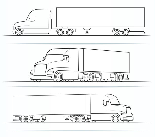 American road train silhouettes, outlines, contours. Side and perspective view of the semi truck with a trailer. Vector illustration isolated on white background American road train silhouettes, outlines, contours. Side and perspective view of the semi truck with a trailer. Vector illustration isolated on white background semi truck stock illustrations