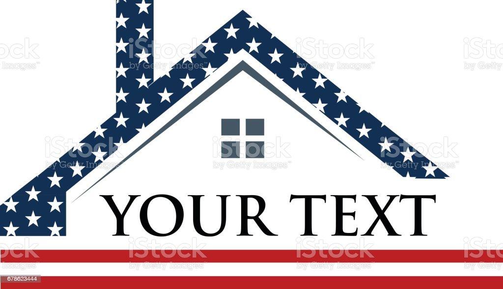 American Roof Construction Logo Illustration vector art illustration