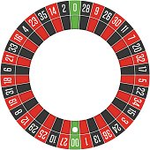 American casino roulette wheel. Gambling games concept. Vector illustration. EPS 10