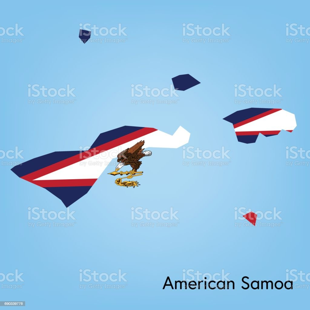 American Samoa Map With Flag Colors Stock Vector Art & More Images ...