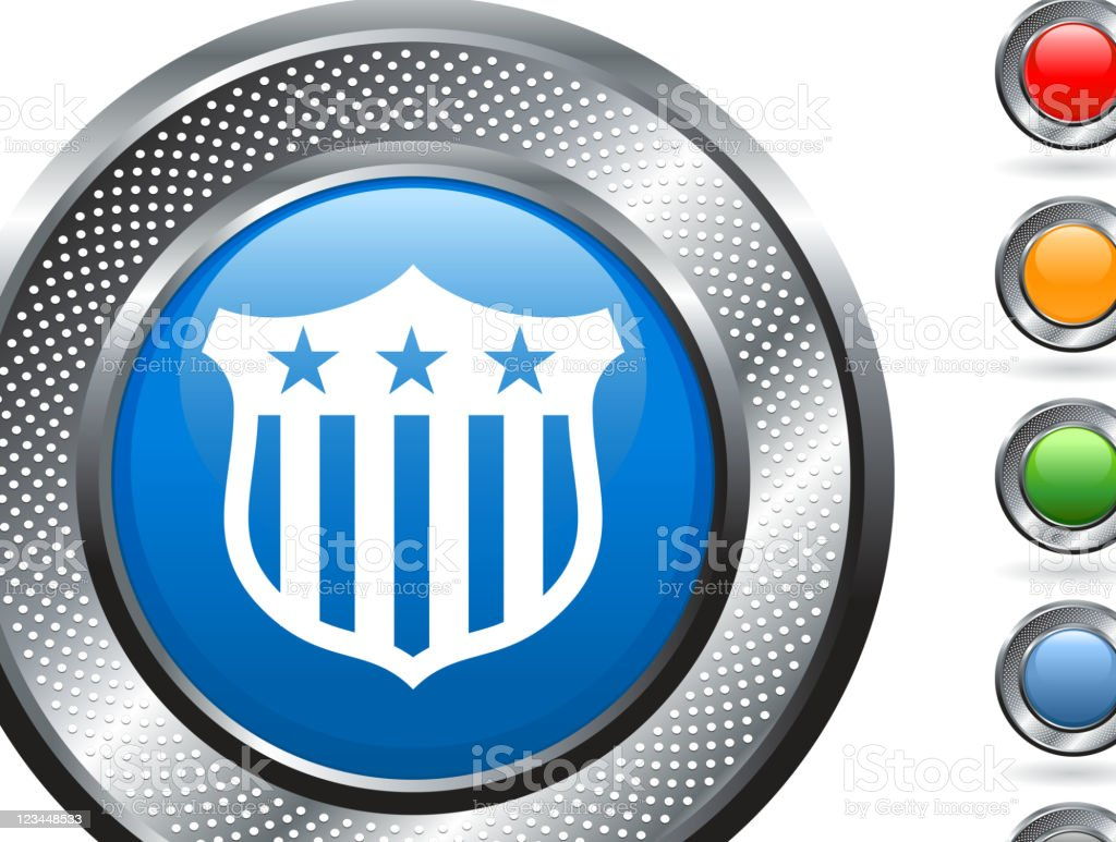 American shield royalty free vector art on metallic button royalty-free stock vector art
