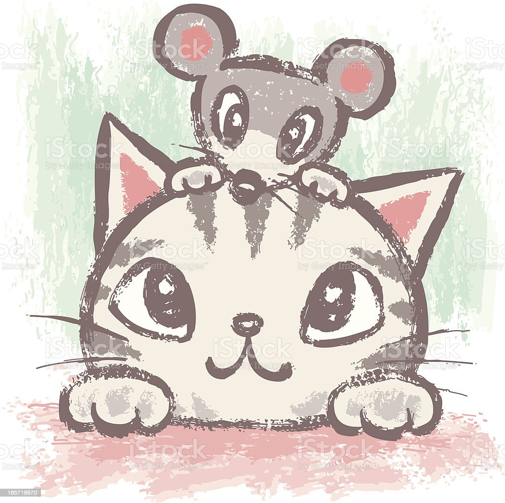 American Shorthair and rat vector art illustration