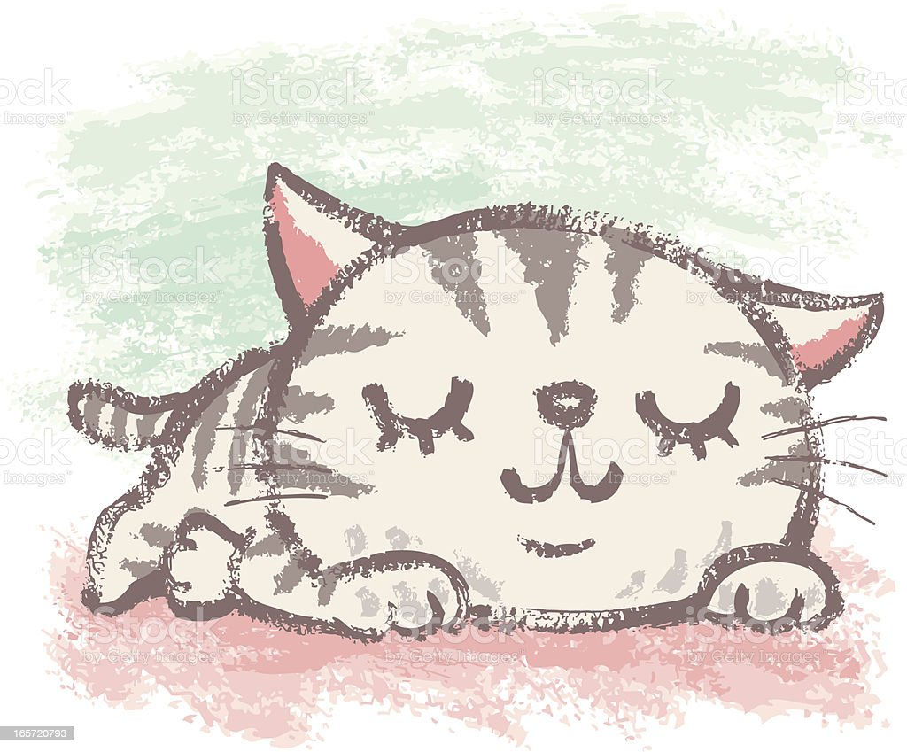 American Shorthair that is napping vector art illustration