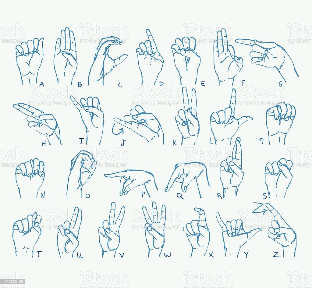 American Sign Language Alphabet royalty-free stock vector art