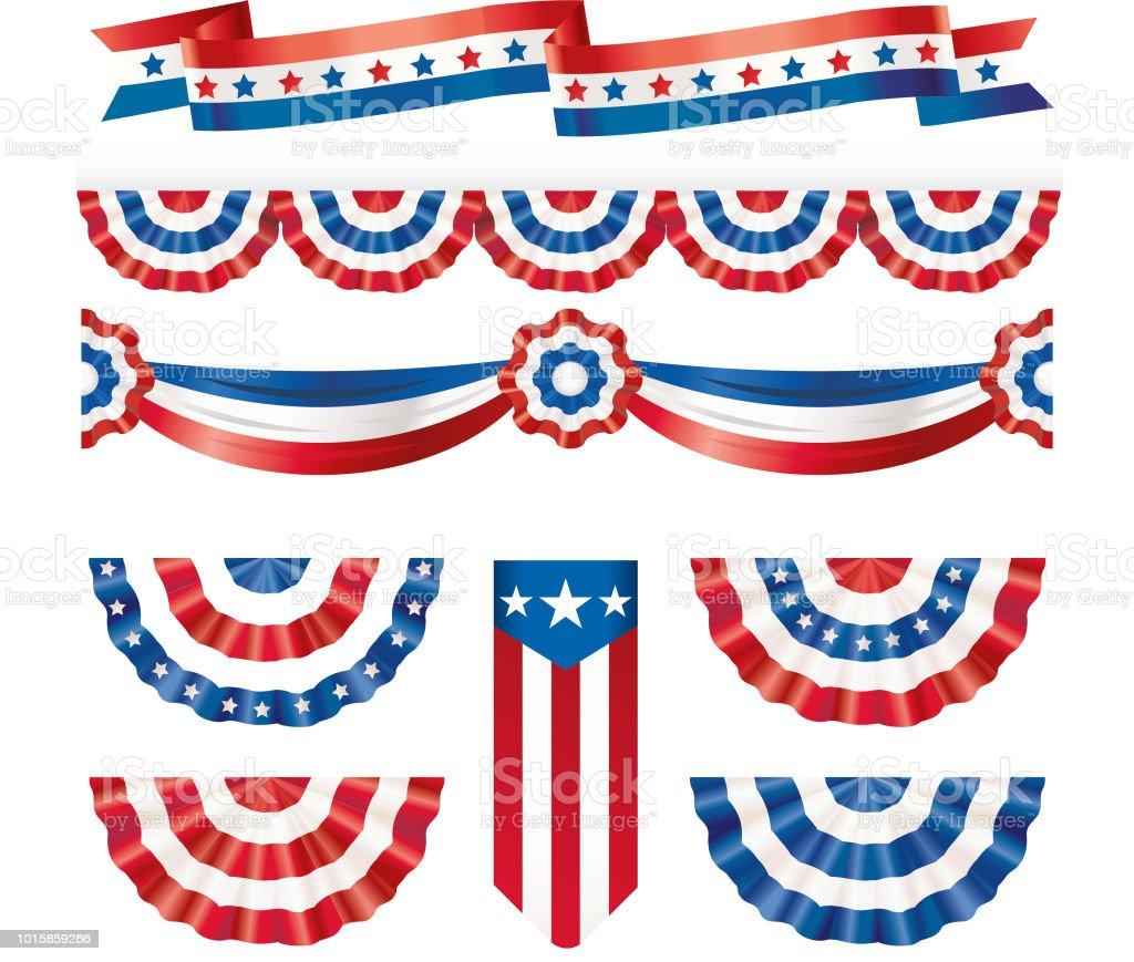 American silk flags American silk flags American Culture stock vector