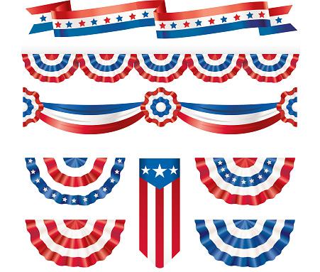American silk flags