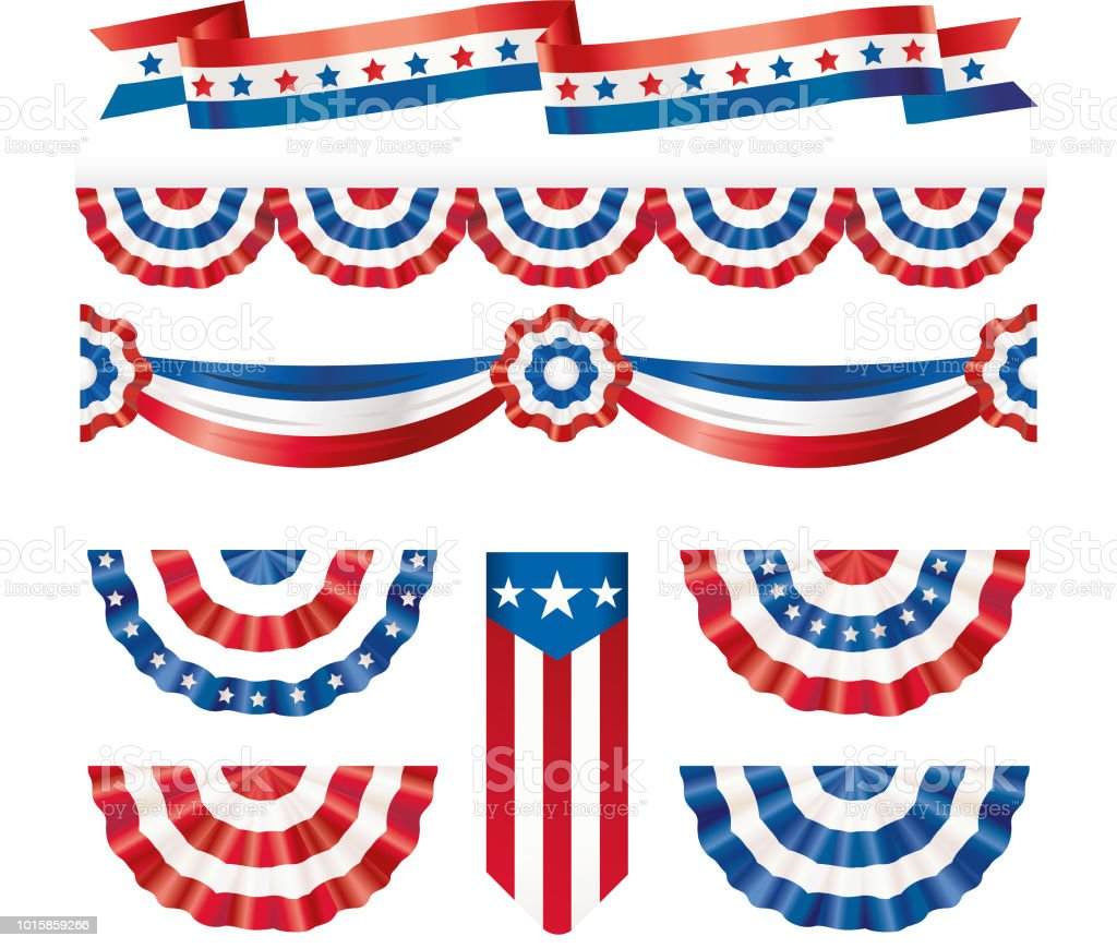 American silk flags vector art illustration