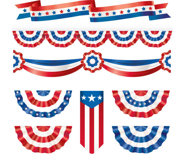 American silk flags American silk flags independence day illustrations stock illustrations