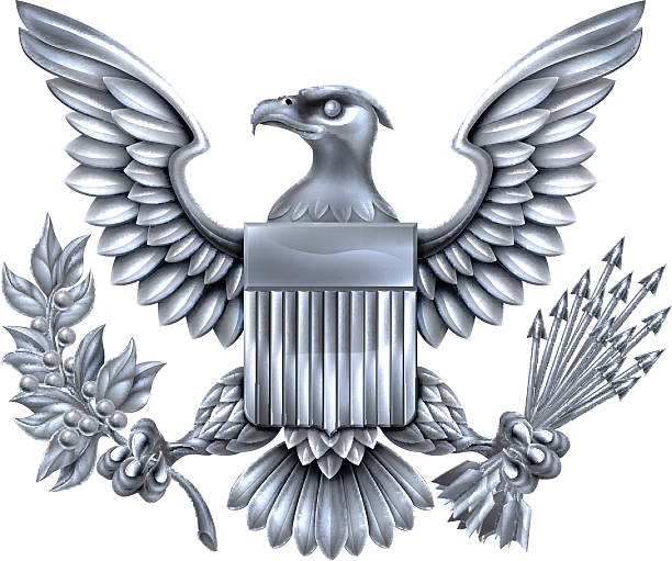 American Silver Eagle Silver Steel metal American Eagle Design with bald eagle like that found on the Great Seal of the United States holding an olive branch and arrows with American flag shield presidential candidate stock illustrations