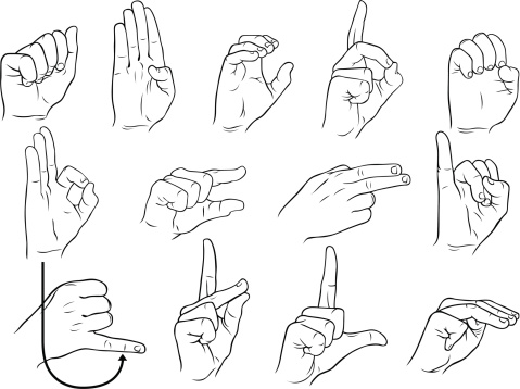 American single hand sign language A-M