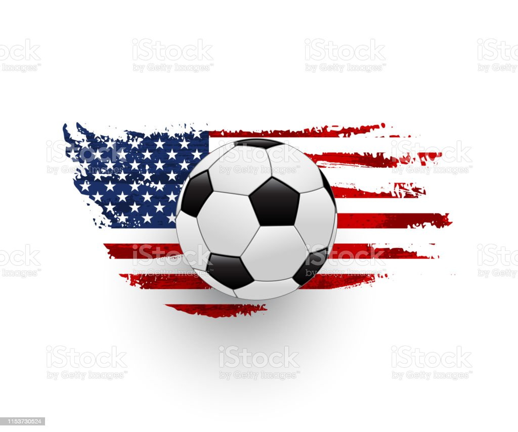 American soccer realistic vector illustration. Leather ball with...