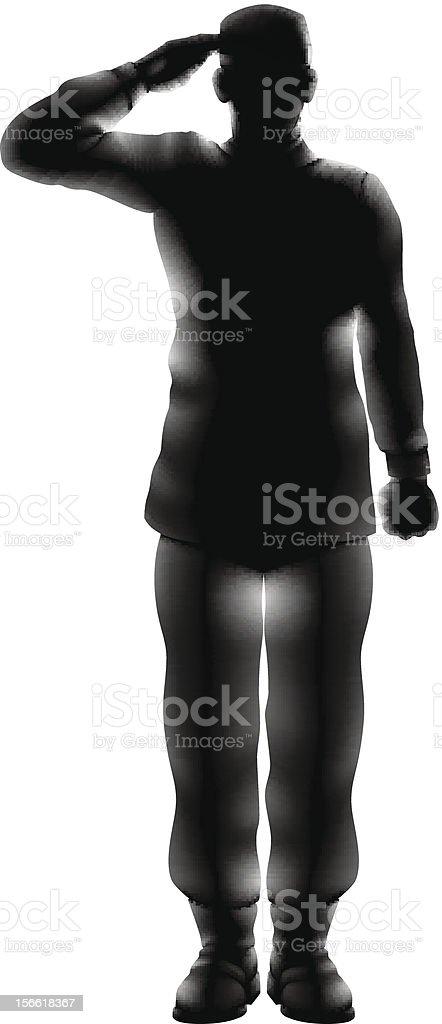 American soldier saluting silhouette vector art illustration