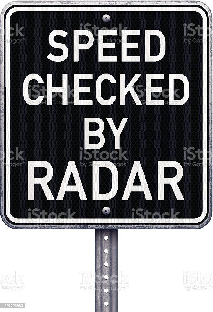 American speed checked by radar road sign vector art illustration