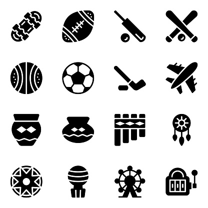 American Sports and Tribal Elements Solid Icons