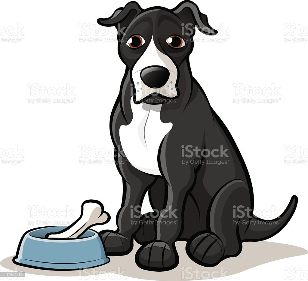 American Staffy Dog Cartoon with Bowl and Bone vector art illustration