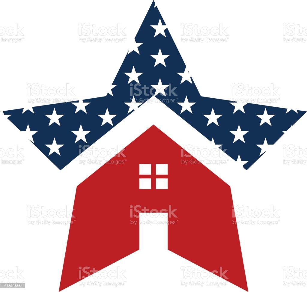 American Star House Logo Illustration vector art illustration