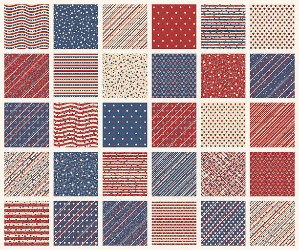 American stars and stripes seamless patterns vector art illustration