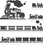 3D and 2D icon set of american style classic steam trains.
