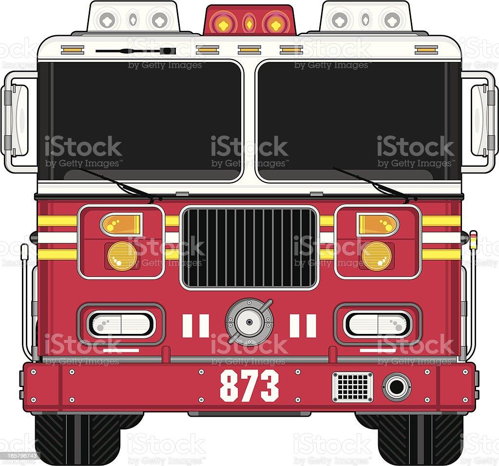 American Style Cartoon Fire Engine vector art illustration