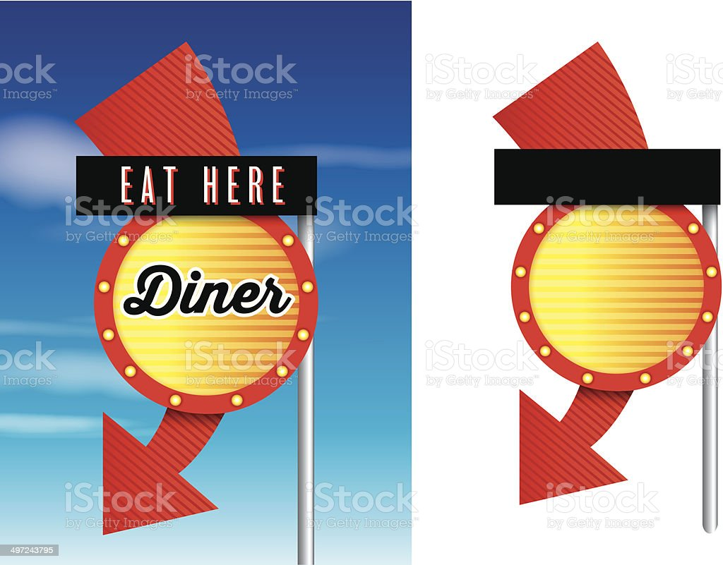 American Style Retro Vintage 1950s Diner Signs Royalty Free
