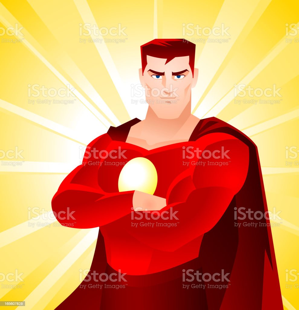American Superhero Standing Proud vector art illustration