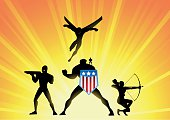 A silhouette style illustration of an American superhero team ready for action. Easy to edit.